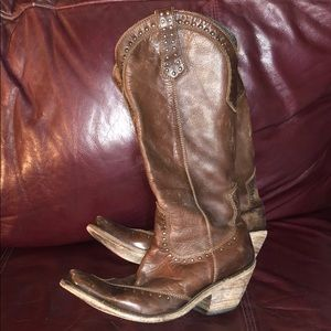"""""""Liberty Black""""- tall brown distressed boots"""